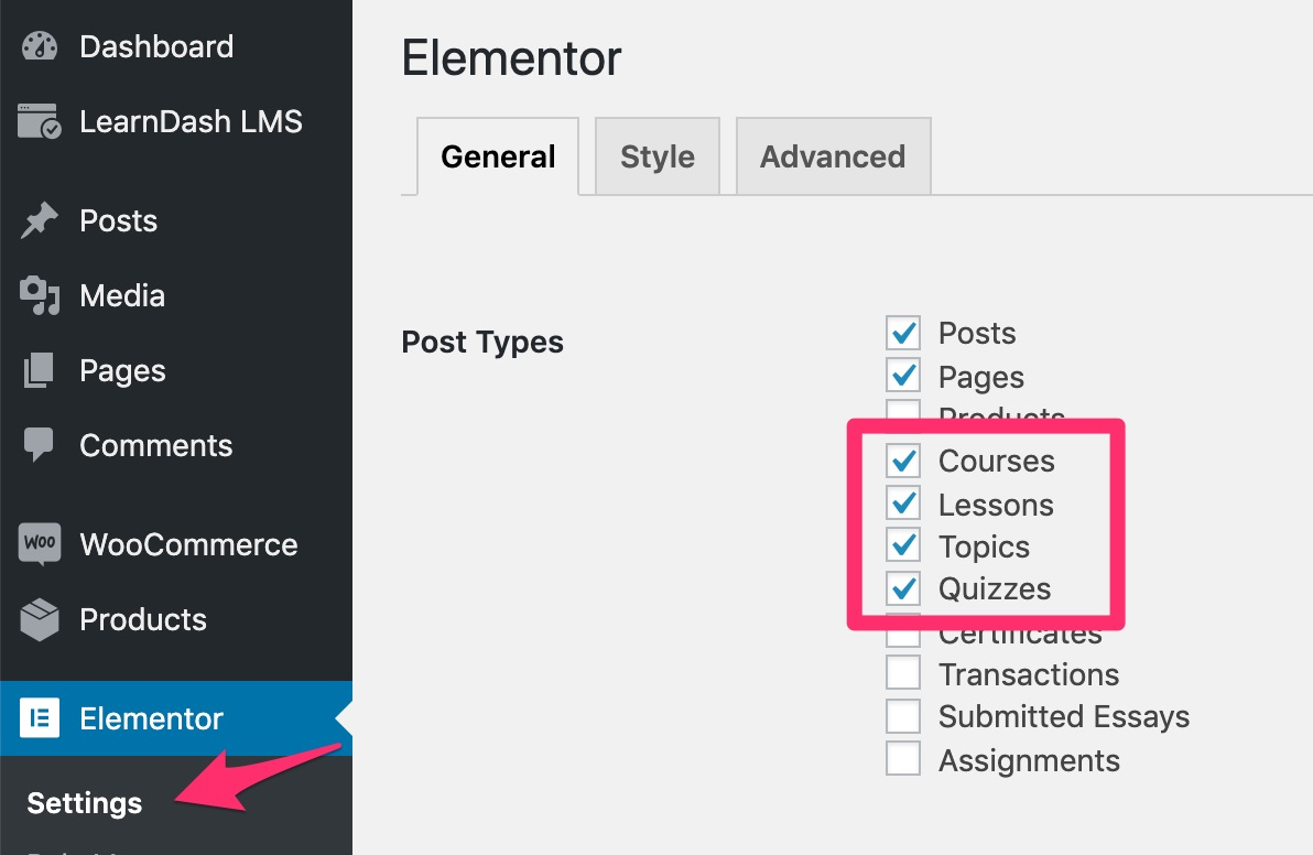 Enable LearnDash post types in Elementor