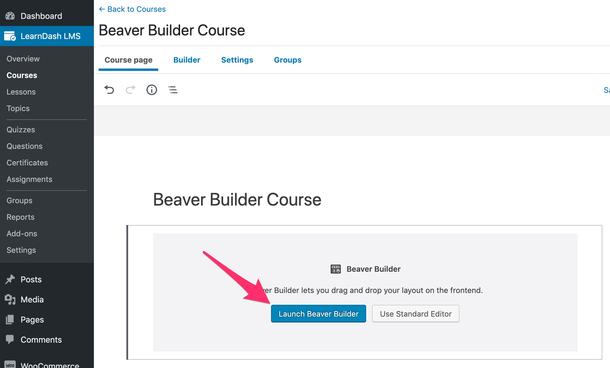 Edit LearnDash content with Beaver Builder button