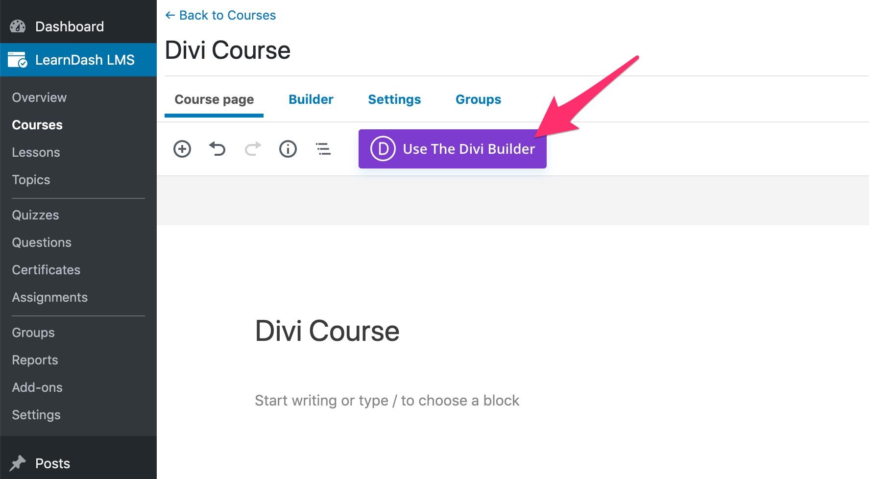 Launch Divi builder on LearnDash content