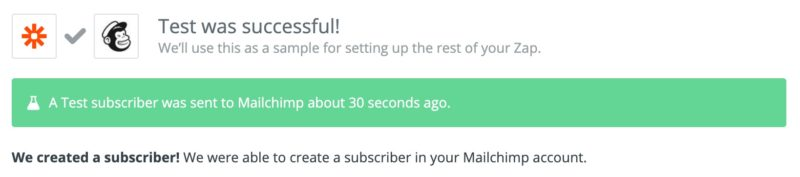 Mailchimp action test successful message