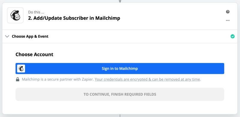 Connect to Mailchimp in Zapier