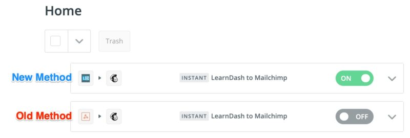 LearnDash old method vs. new method of Zapier connection