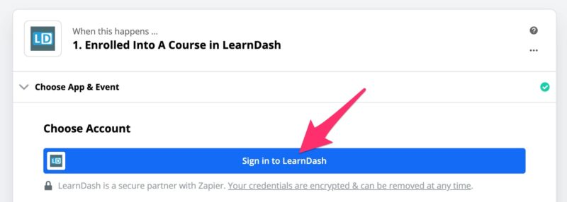 Sign in to LearnDash button in Zapier