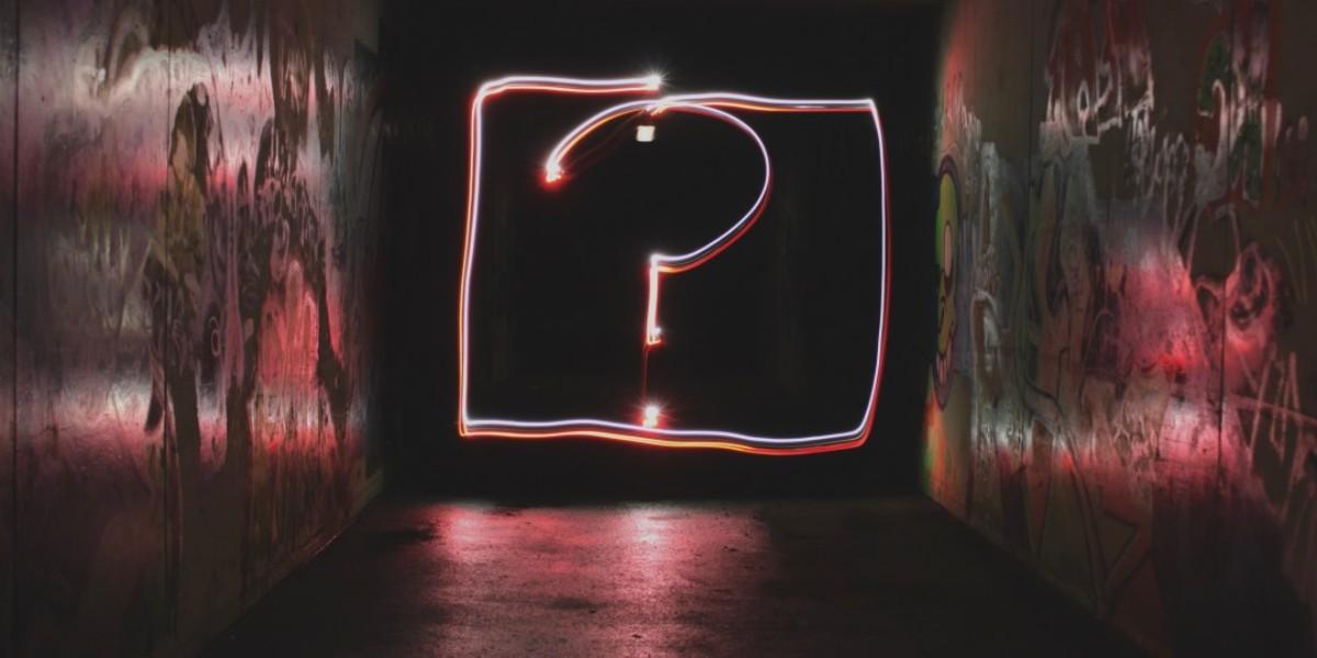 A bright question in a box.