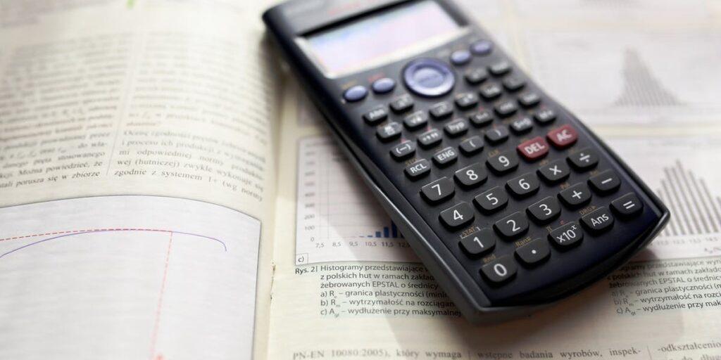 calculator on a test book