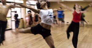 dancers training in a studio