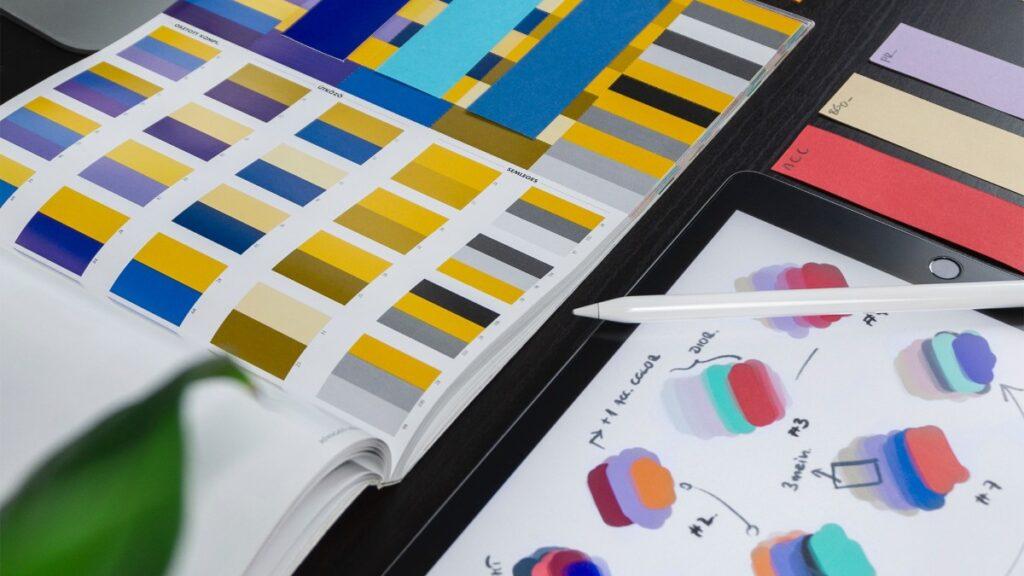A color palette showing different design ideas.