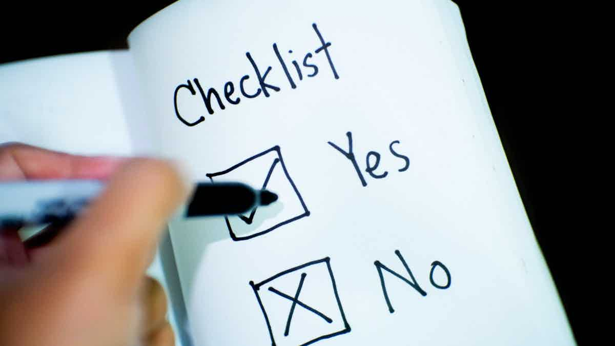 A checklist showing yes and no options.