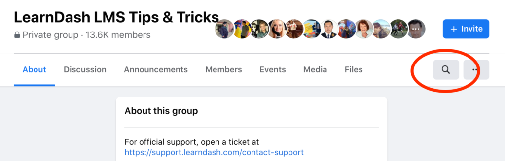 The LearnDash Tips and Tricks group menu with search bar cirlced