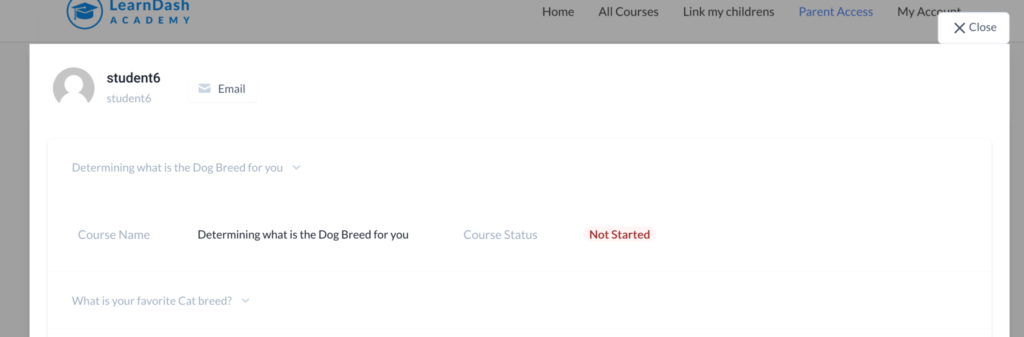 A screenshot of the Parent and Child Access plugin showing that a student has not started a course.